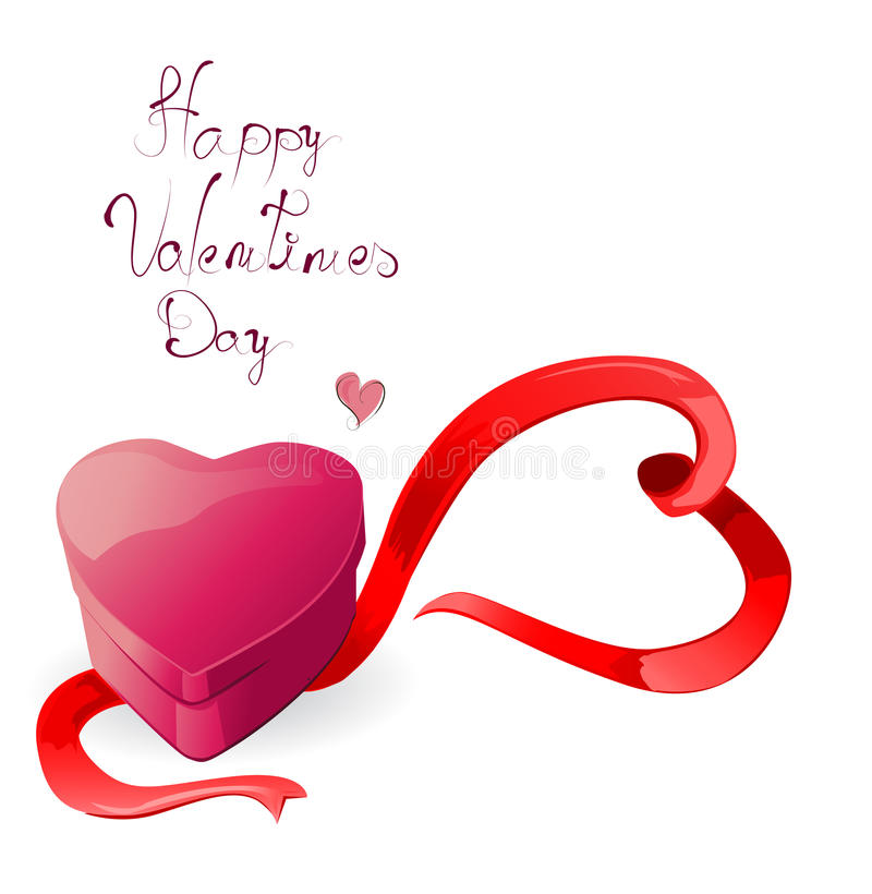 Heart-shaped box with ribbon
