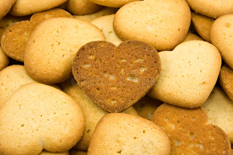 heart shaped brown cookies royalty free stock image