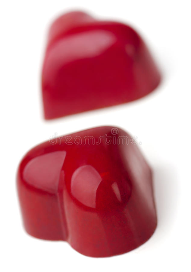 Heart shaped burgundy Pralines. royalty free stock images