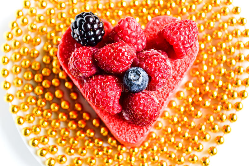 Heart shaped cake as a gift royalty free stock photos