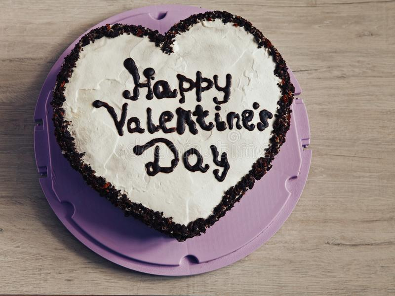 Heart-shaped cake for St. Valentines Day royalty free stock photos