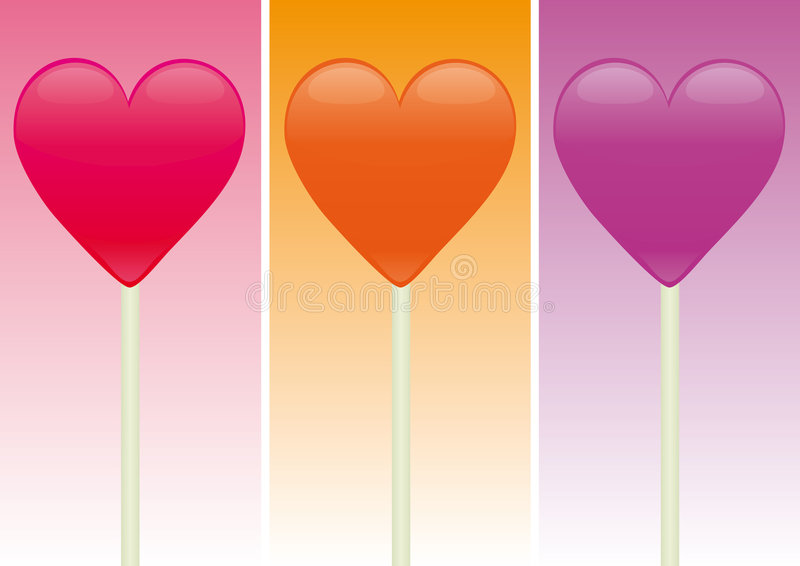 Heart Shaped Candy over different color background royalty free stock photo