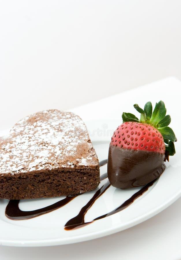 Heart shaped chocolate cake royalty free stock photos