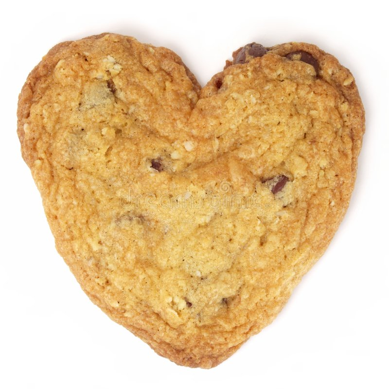 Heart-Shaped Chocolate Chip Cookie stock image