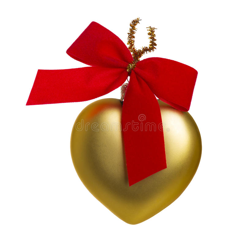 Heart-shaped Christmas bauble royalty free stock photography