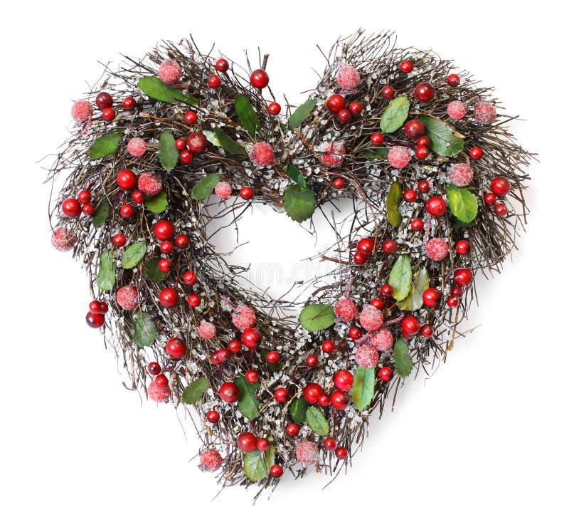 Heart shaped Christmas garland stock image