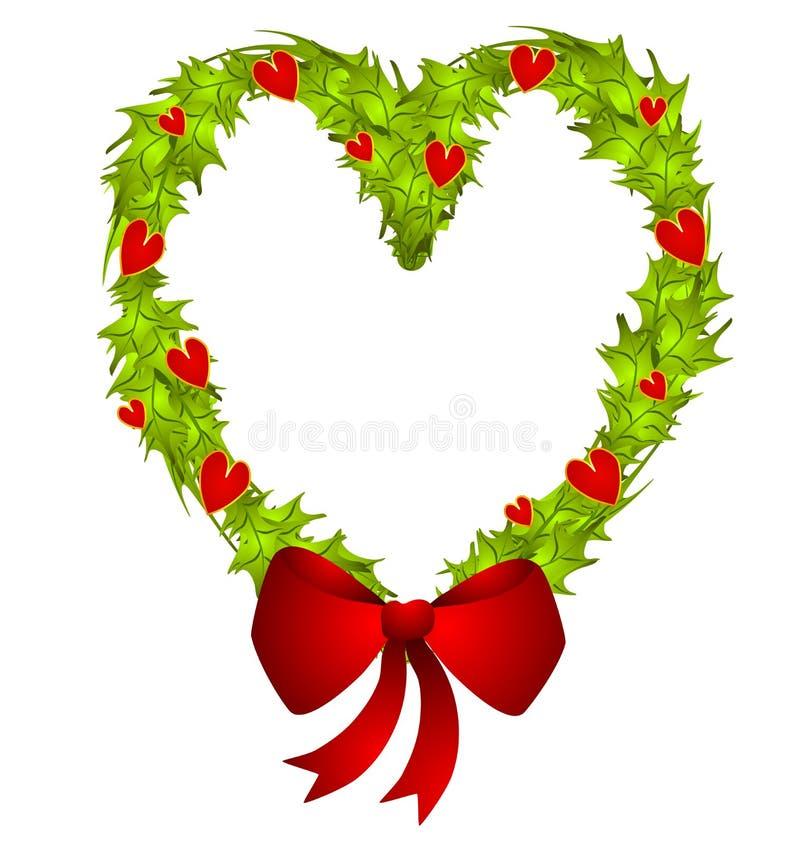 Heart Shaped Christmas Wreath stock illustration
