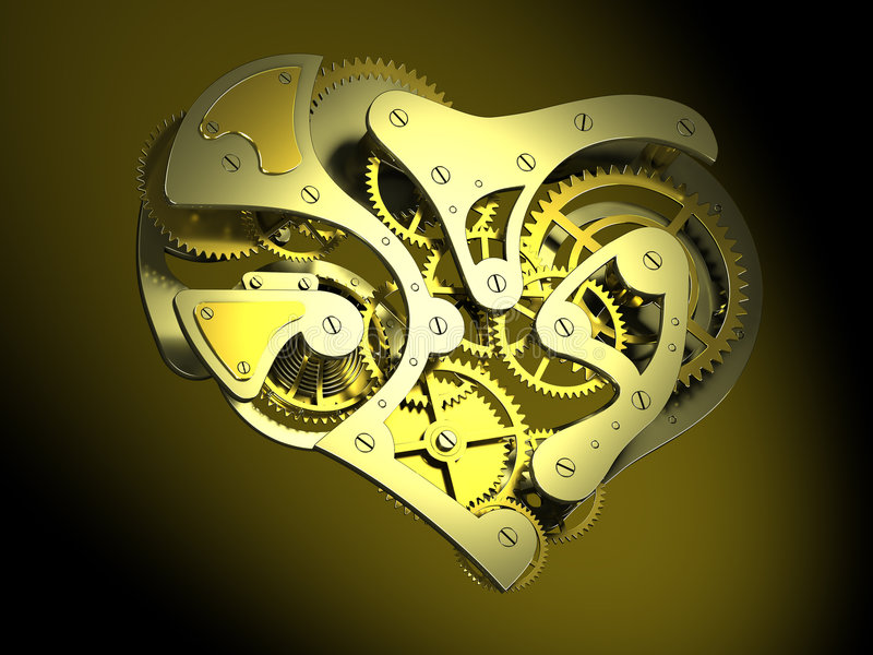 Download Heart shaped clock stock illustration. Image of gearwheels - 4686696