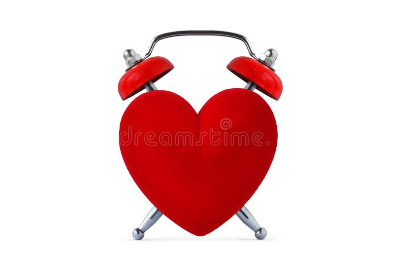 Heart shaped clock - Time to love concept stock photography