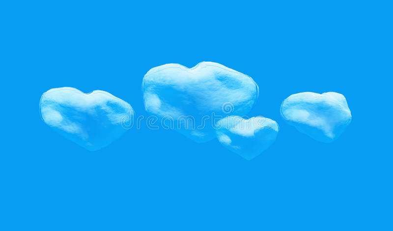 Heart shaped cloud in the sky. Four Heart shaped cloud in the sky royalty free illustration