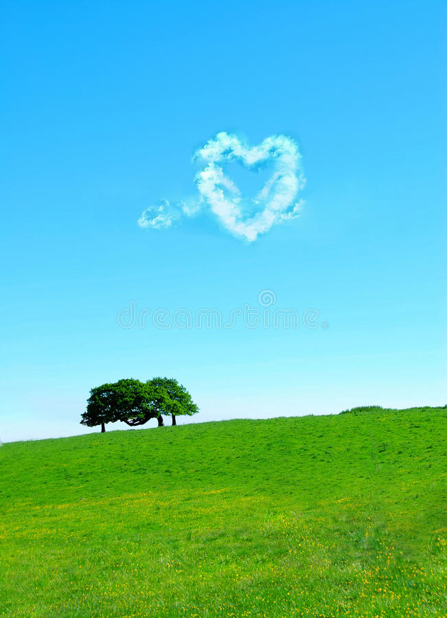 Heart shaped clouds stock image