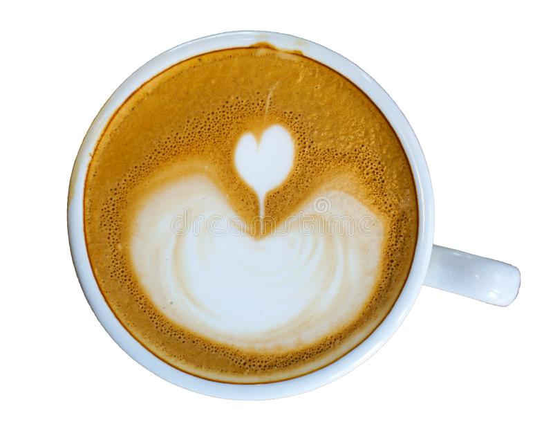 Heart-shaped coffee on a white background.  royalty free stock photography