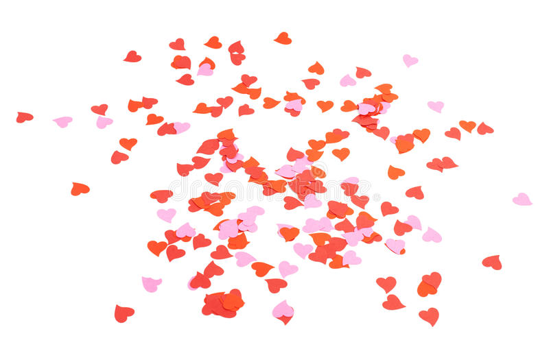 Heart shaped confetti composition royalty free stock photos