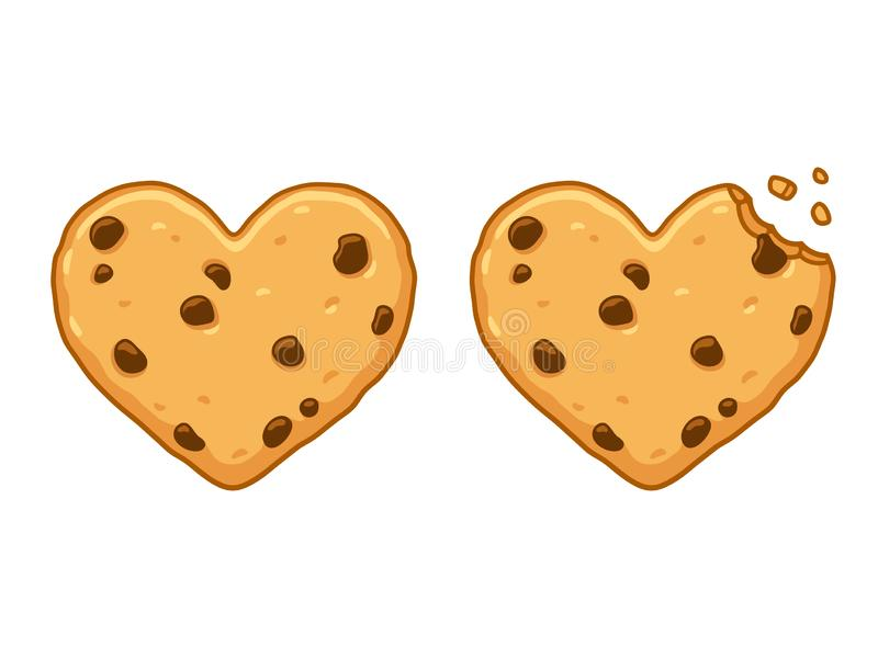 Heart shaped cookie. Heart shaped chocolate chip cookie with bite and crumbs. Cute cartoon style vector illustration vector illustration
