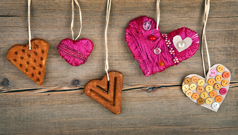 Download Heart Shaped Cookie And Red Handmade Heart Royalty Free Stock Image - Image: 28702586