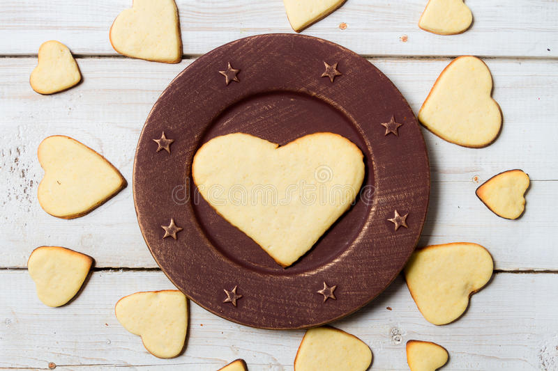 Heart-shaped cookies arranged no. 1 stock photos