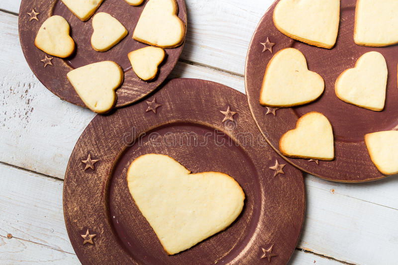 Heart-shaped cookies arranged no. 2 royalty free stock image