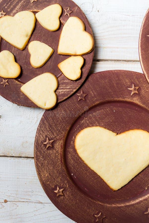 Heart-shaped cookies arranged no. 4 stock photo