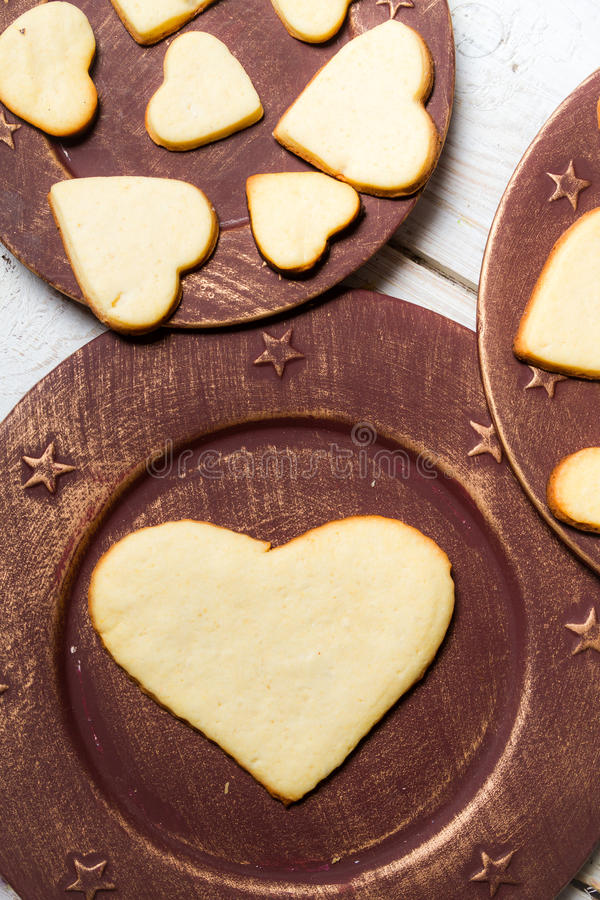 Heart-shaped cookies arranged no. 7 royalty free stock photography