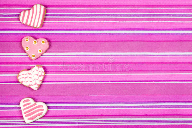 Heart shaped cookies baked Valentine's Day stock images