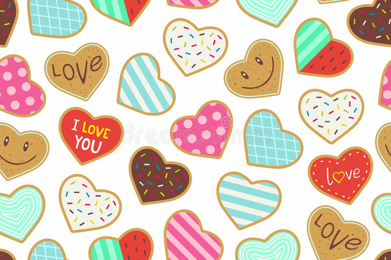 Heart shaped cookies seamless pattern vector illustration