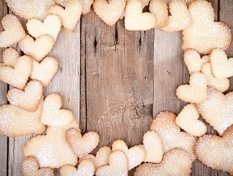 Heart shaped cookies in shape of frame