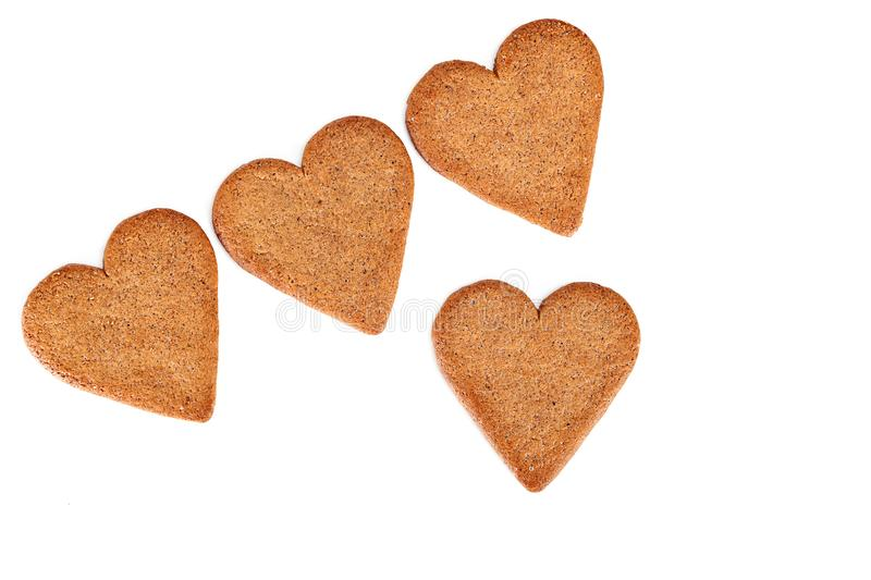 Heart shaped cookies on white background royalty free stock image