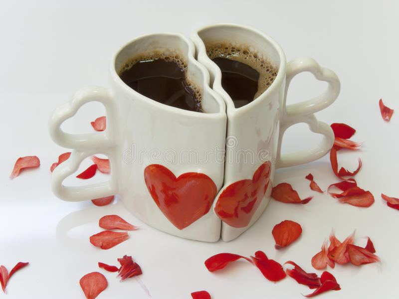 Heart shaped cups of coffee