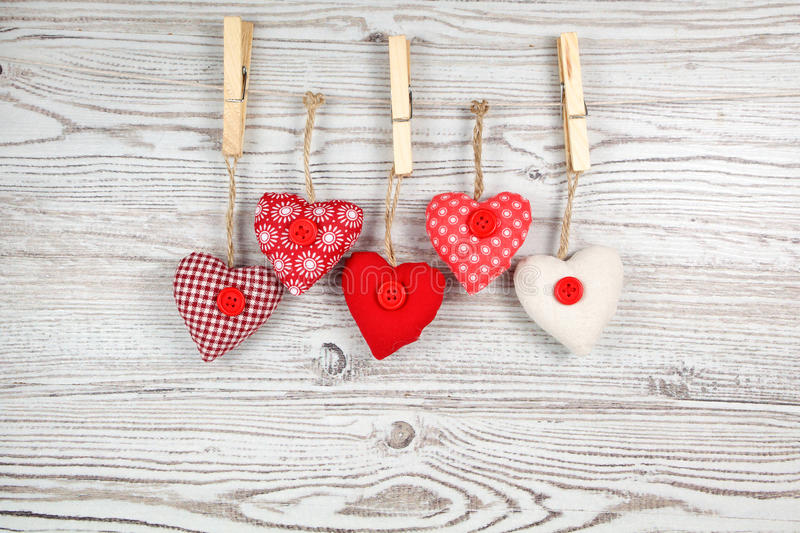 Heart-shaped decoration on wood royalty free stock photography