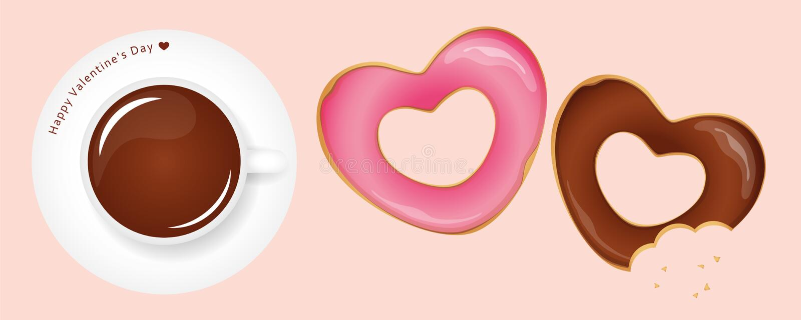 Heart shaped donuts and coffee for valentines day royalty free illustration