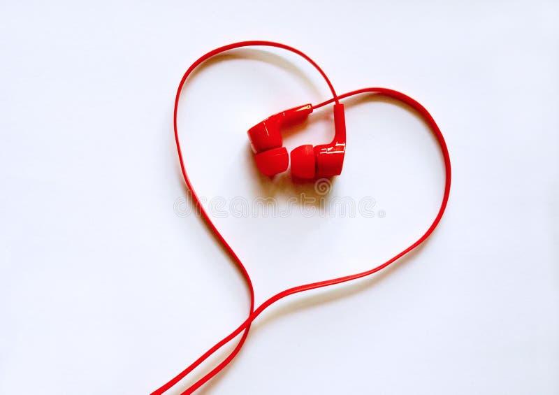 Heart shaped earphones stock photography