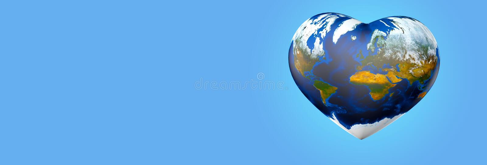 Heart shaped earth. On blue background for eco friendly banners or ecological protest. 3D illustration vector illustration