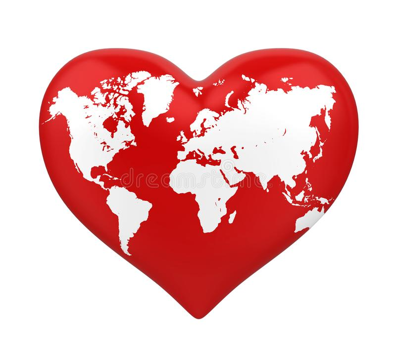 Heart Shaped Earth Isolated royalty free illustration