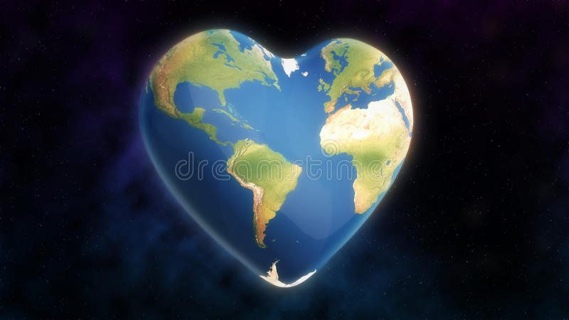 Heart shaped Earth. A planet Earth image shaped into a heart floating in space illustrating concepts of conservation, ecology and environment stock illustration