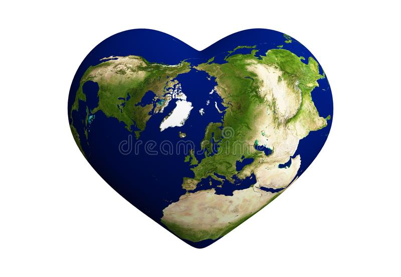 Heart shaped earth with world map isolated on white background. 3d abstract illustration. Elements of this image furnished by NASA vector illustration