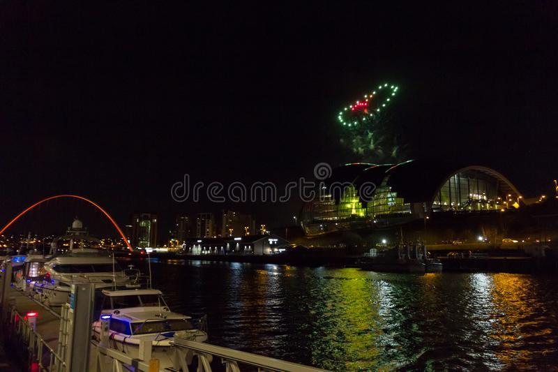 Heart-shaped Fireworks at Newcastle Quayside on New Year`s Eve royalty free stock image