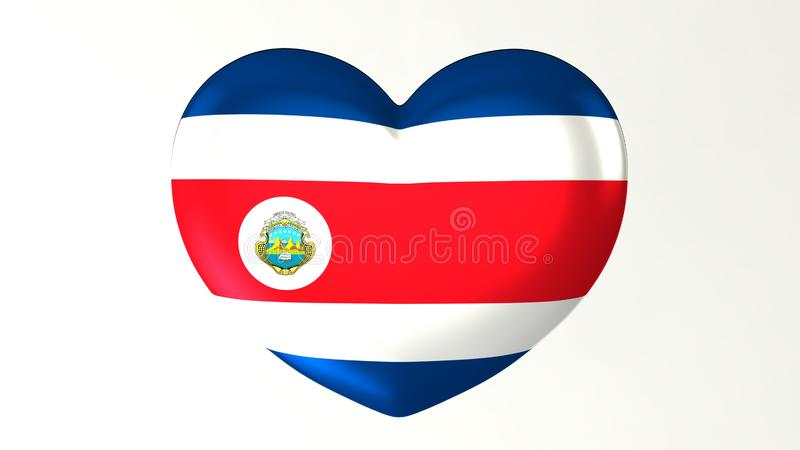 Heart-shaped flag 3D Illustration I love Costa Rica. Heart-shaped button pin 3d illustration render flag I love Costa Rica royalty free illustration