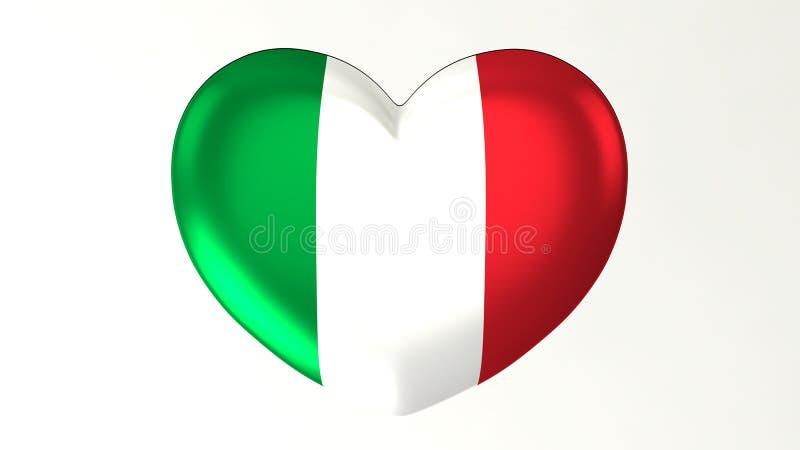 Heart-shaped flag 3D Illustration I love Italy vector illustration