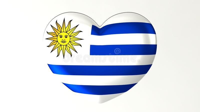 Heart-shaped flag 3D Illustration I love Uruguay stock illustration