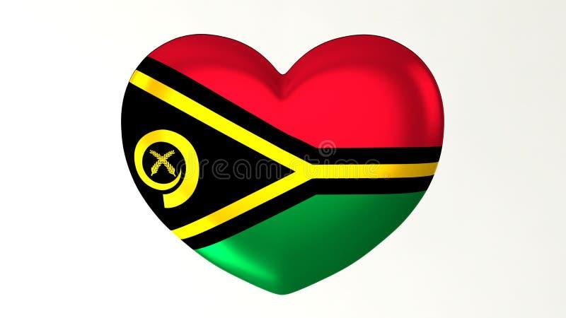 Heart-shaped flag 3D Illustration I love Vanuatu stock illustration