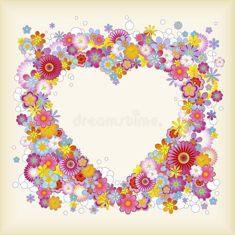 Heart-shaped floral frame vector illustration