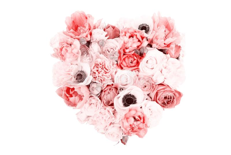Heart Shaped Flower Bouquet Isolated On White Stock Image - Image of ...