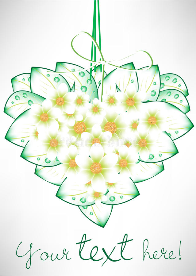 Heart shaped flowers card royalty free illustration