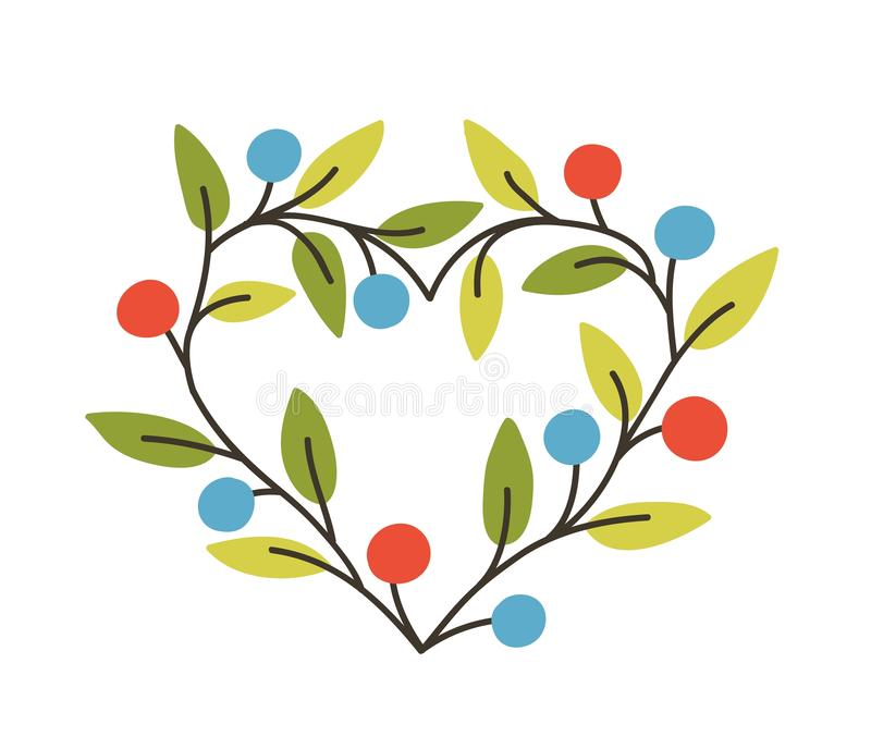 Heart-shaped frame or border made of branches with berries and leaves. Spring natural decorative design element, cute vector illustration