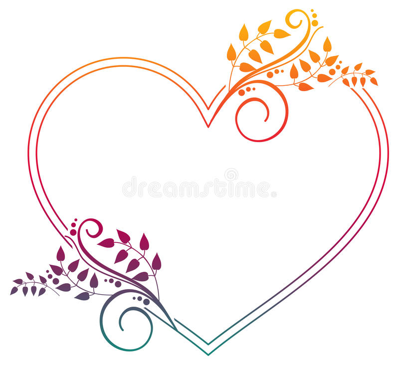 Heart shaped frame with gradient fill. stock photography