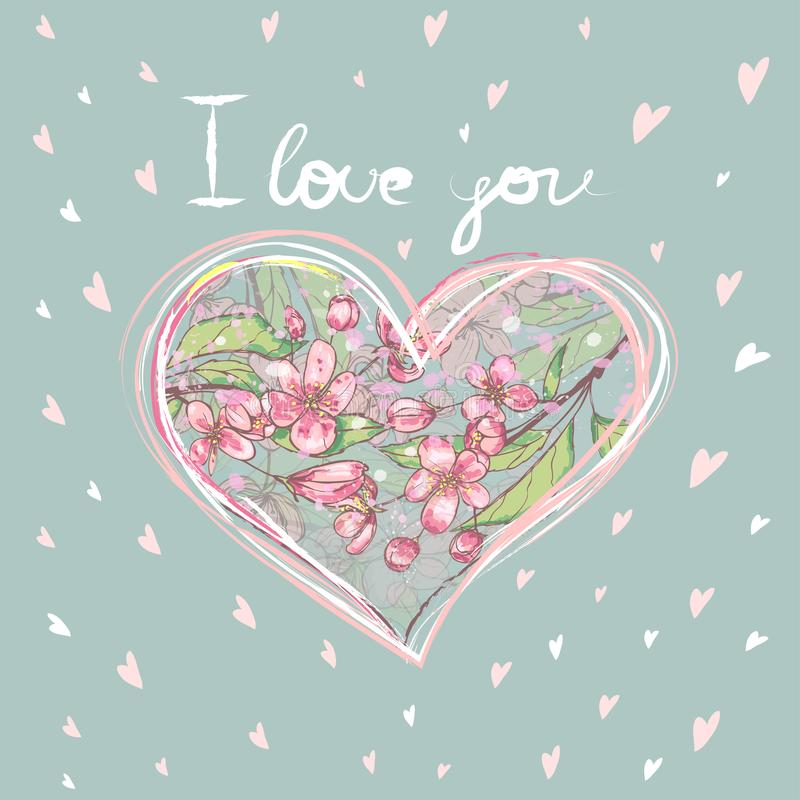 Heart shaped frame made of flowers on a striped background with text `I love you` inside. Square format. Blue and pink royalty free illustration