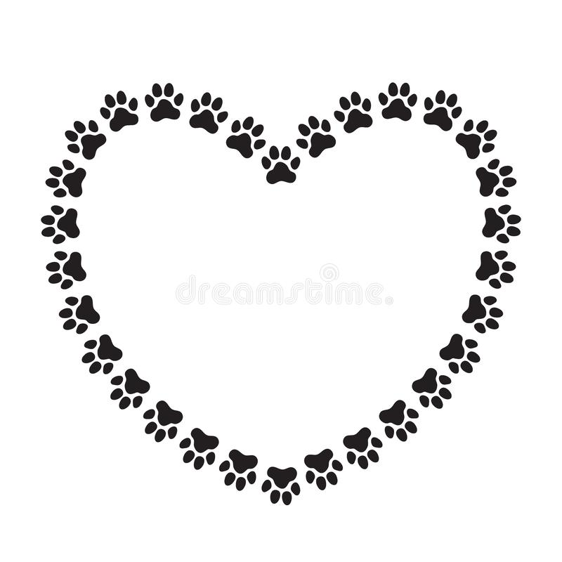 Heart shaped frame made of paw prints stock illustration