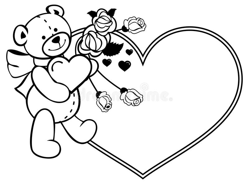 coloring pages teddy bear holding roses | Heart-shaped Frame With Outline Roses, Teddy Bear Holding ...