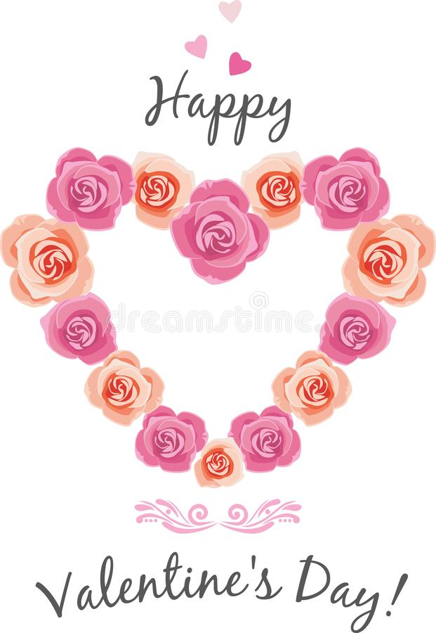 Heart shaped frame of pink roses stock photography