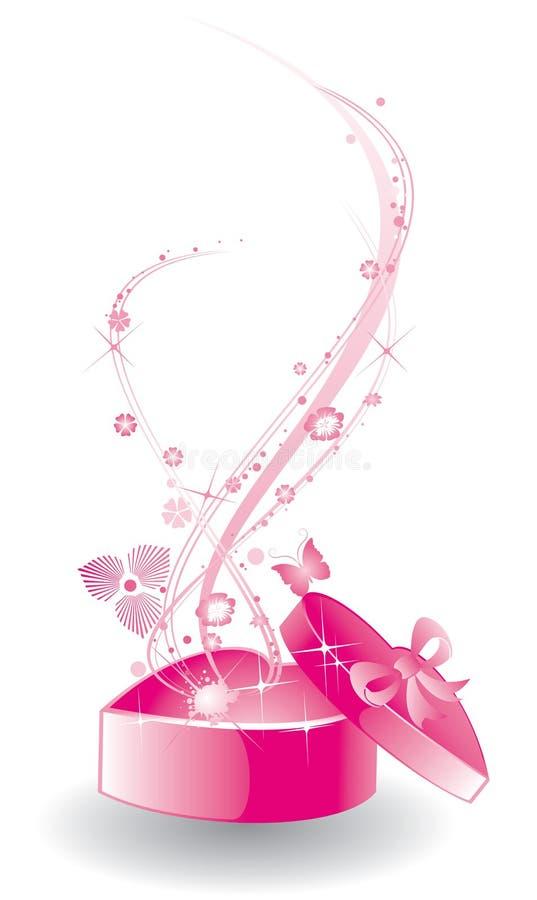 Heart-shaped gåvaask stock illustrationer